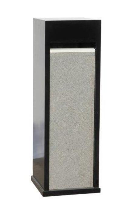 Zwarte brievenbus met granieten voorzijde